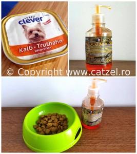 Mancare ambalata pentru caine (bobite, conserva) si ulei de somon